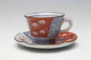 日本製 赤絵梅祥瑞 コーヒー碗皿 レトロ カップ&ソーサ コーヒーカップ 国産 贈り物 ギフト プレゼント 敬老の日 シンプル かわいい 和風 和モダン