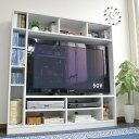 送料無料 50インチ対応 135幅 テレビ台 壁面収納 ゲート型 ホワイト 50型 ハイタイプ 壁面 大容量 収納 木製 おしゃれ…