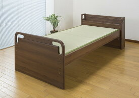 寝起きが楽な高さ調整 本畳ベッド シングルベッド 畳みベッド 木製 棚付き コンセント付き シングルサイズ ベッドフレーム おしゃれ
