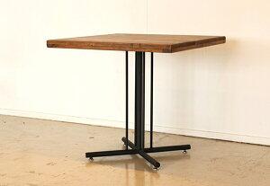 カフェテーブル ブラウン 木製 パイン無垢 スチール 2人用 ダイニングテーブル コーヒーテーブル リビング 机 作業台 アンティーク レトロ モダン おしゃれ