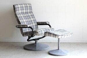 パーソナルチェアー オットマン付 グレー リクライナー 一人掛け椅子 1人用 いす リクライニング チェック柄 チェア リビング シック シンプル 北欧 モダン ボリューム ゆったり おしゃれ 高