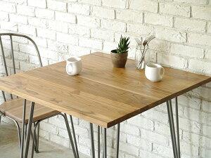 テーブル 単品 幅80cm エルム無垢材 スチール 机 ダイニングテーブル 食卓テーブル 2人掛け 2人用 作業台 カフェ アイアン 北欧 西海岸 ナチュラル ブルックリン 男前インテリア おしゃれ 高級