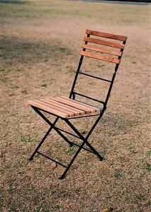 折り畳みアイアンチークチェア(2脚入) 折りたたみ 木製 チーク ガーデンチェアー 1人掛け いす 椅子 ひとりがけ チェア テラス カフェ おしゃれ モダン レトロ 高級感