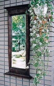 アンティークミラー 化粧鏡 角型 壁掛け ミラー 壁掛ミラー ウォールミラー 木 チーク レトロ モダン おしゃれ 高級感