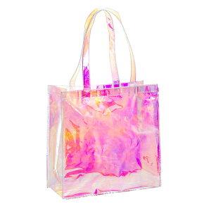 送料無料 ミラースモーク 透明バッグ 1枚入り 大容量 トートバッグ ビニールバッグ ビーチバッグ プール アウトドア レディース 痛バッグ