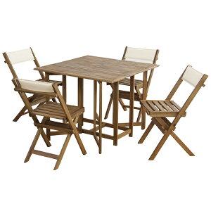 送料無料 完成品 ダイニング5点セット ガーデンテーブルセット テーブル 椅子4脚 セット 木製 折りたたみ キャスター付き テーブル チェア イス 椅子 コンパクト収納 バルコニー カフェ テラ