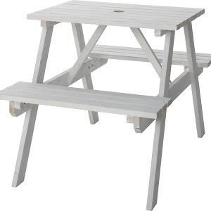 送料無料 レジャーテーブルセット 2人 レジャーテーブル&チェアセット 幅75cm テーブル ベンチ チェア 机 木製 椅子 パラソル穴 アウトドア キャンプ イベント バーベキュー 屋外 室外 お庭