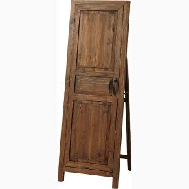ドア型 スタンドミラー 木製 収納付き 姿見 全身 アンティーク ミラー 鏡 全身鏡 かがみ カガミ モダン 美容院 店舗 カフェ サロン レトロ モダン ブルックリン 西海岸 おしゃれ ブラウン