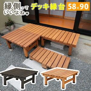 送料無料 縁台 デッキ縁台 90×58 木製縁台 天然木 縁側 ウッドデッキ ガーデンベンチ 腰掛け 椅子 いす イス ガーデンチェア 庭 DIY エクステリア 屋外 ウッド コンパクト