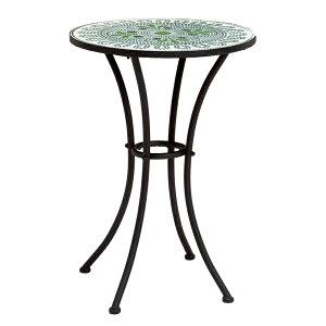 送料無料 ガーデン テーブル 円形 丸型 ガーデンテーブル おしゃれ 雨ざらし 屋外 スチール アイアン タイル テラス カフェ オープンカフェ フラワースタンド プランタースタンド テーブル