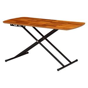 送料無料 テーブル 昇降式 リフティングテーブル 5段階高さ調節 昇降式テーブル スチール ローテーブル 天然木 木目 コンパクト 高さ調整 作業台 ロー デスク サイド テーブル ベット 昇降テ