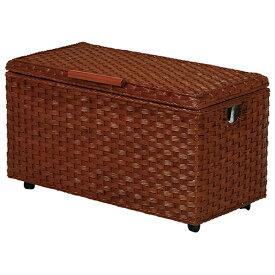 送料無料 ランドリー サニタリー バスケット 幅65 キャスター付き トランク ラタン 収納ボックス 収納BOX フタ付き おしゃれ 木製 おもちゃ箱 リビング収納 収納ケース ライトブラウン 茶色 RUD-1802LB