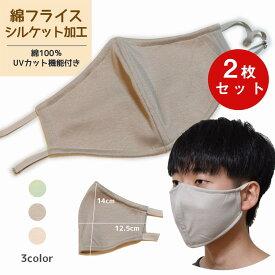 布マスク2枚セット 綿100%ニットUVマスク 洗って繰り返し使える UVカットニット使用 布マスク