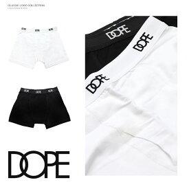 【20%OFF】DOPE ドープ 下着 インナー ボクサーパンツ ブリーフ シンプル ロゴ 定番 ブラック 黒 ホワイト 白 ロゴ メンズ レディース B系 ストリート系 ファッション 服 おしゃれ かっこいい 人気 ブランド CLASSIC LOGO BOXER BRIEFS dope couture
