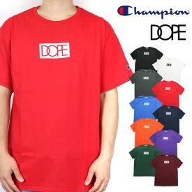 DOPE ドープ Champion チャンピオン コラボ 半袖 Tシャツ ティーシャツ 半袖Tシャツ ロゴ メンズ 白 ホワイト 黒 ブラック レッド ブルー レディース B系 ストリート系 大きいサイズ XXL 2XL 3L ファッション 服 おしゃれ かっこいい 人気 ブランド dope couture
