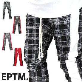 【40%OFF】EPTM エピトミ ライン トラックパンツ トラック パンツ メンズ ジャージ スリム サイドライン ラインパンツ テーパード スキニー スキニーパンツ チェック 赤 RED 海外 ブランド インポート B系 ストリート PLAID TRACK PANTS サイドジッパー 裾ジップ ZIP