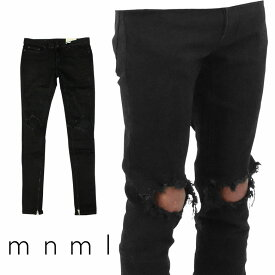 mnml ミニマル M1 STRETCH DENIM BLACK クラッシュ ダメージジーンズ ダメージ デニムパンツ ストレッチ デニム スキニー スキニージーンズ ジーンズ メンズ ジップ付 サイドジッパー サイド ジッパー 裾ジップ ZIP インポート ブランド ストリート ファッション