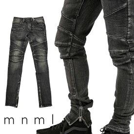 mnml ミニマル M14 STRETCH DENIM BLACK バイカーパンツ バイカーデニム バイカー デニムパンツ ストレッチ デニム スキニー スキニージーンズ ジーンズ メンズ ジップ付 サイドジッパー サイド ジッパー 裾ジップ ZIP インポート ブランド ストリート ファッション