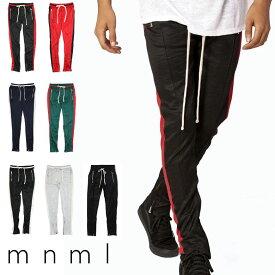 mnml ミニマル ライン トラックパンツ トラック パンツ スキニー サイドライン ラインパンツ ジャージ メンズ ジップ付 サイドジッパー サイド ジッパー 裾ジップ ZIP インポート ブランド ストリート ファッション TRACK PANTS