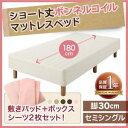 脚付マットレス マットレスベッド セミシングルベッド ショート丈ボンネルコイルマットレスベッド 脚30cm セミシングル