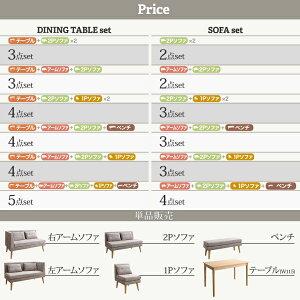 北欧デザインソファリビングダイニングセットSLIVEスライブ3点セット(テーブル+2Pソファ1脚+アームソファ1脚)右アームW115500033481