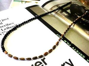 着後レビューで おまけ【50cm】オニキス ハーフデザイン ネックレス【 パームウッド & シルバー925製ビーズ付 】ネックレス オニキス チェーン 天然石 パワーストーン ヤシの木 メンズ レディ