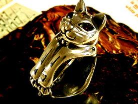 ネコ好きなら絶対ハマルファニーキャットリング【ガーネット】ネコグッズ ガーネット パワーストーン リング ネコ 指輪 シルバー アクセサリー アニマル 動物 3sp