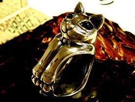 ネコ好きなら絶対ハマルファニーキャットリング【ブラックスター】ネコグッズ ねこのきもち ブラックスター パワーストーン リング ネコ 指輪 アクセサリー 動物 6sp