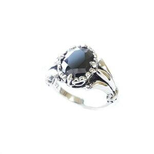 シンプルで美しいプリズムフレアリング【オニキス】シルバーリング リング 指輪 オニキス 百合紋章 天然石 パワーストーン シルバー925 silver925 誕生石 メンズ レディース