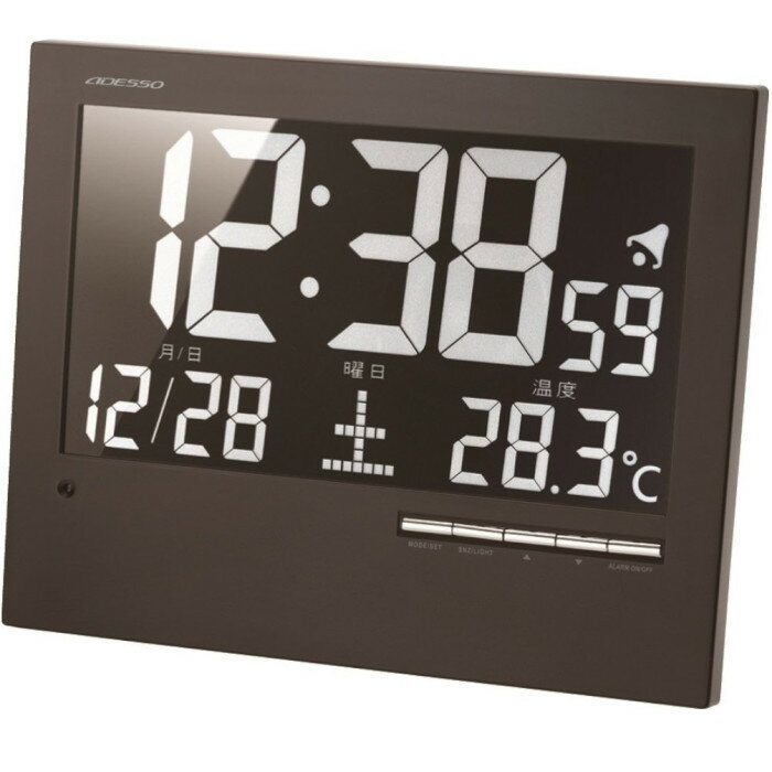 アデッソ AK-62壁掛け時計 デジタル 電波時計 置き掛け兼用 ブラック【ADESSO スタイリッシュ 光る 電波 時計 インテリア】