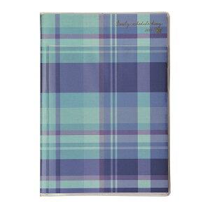 クツワ 家族手帳 エル 2021年 A5 マンスリー チェック・ブルー 013SHB 2020年 12月始まり