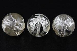 【彫刻ビーズ】水晶 16mm (白彫り) 白龍 (五爪龍) [1粒売り(バラ売り)] 【パワーストーン 天然石 アクセサリー】
