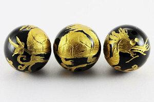 【彫刻ビーズ】オニキス 12mm (金彫り) 龍亀 [1粒売り(バラ売り)] 【パワーストーン 天然石 アクセサリー】