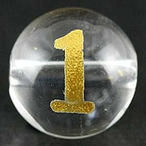 【彫刻ビーズ】水晶 8mm (金彫り) 数字「1」 (横穴) [1粒売り(バラ売り)] 【パワーストーン 天然石 アクセサリー】