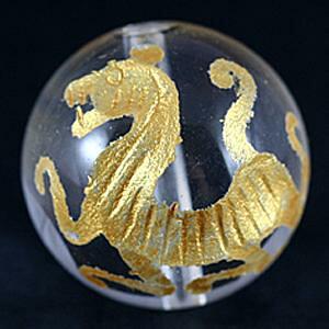【彫刻ビーズ】水晶 16mm (金彫り) 白虎 [1粒売り(バラ売り)] 【パワーストーン 天然石 アクセサリー】