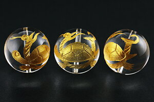 【彫刻ビーズ】水晶 20mm (金彫り) 玄武 [1粒売り(バラ売り)] ※DM便・ネコポス不可※ 【パワーストーン 天然石 アクセサリー】