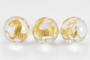 【彫刻ビーズ】水晶 10mm (金彫り) 白虎 [1粒売り(バラ売り)] 【パワーストーン 天然石 アクセサリー】