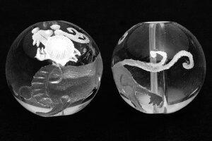 【彫刻ビーズ】水晶 12mm (白彫り) ヤアズ 【パワーストーン 天然石 アクセサリー】