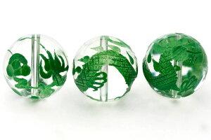 【彫刻ビーズ】水晶 16mm (グリーン彫り) 五爪龍 【パワーストーン 天然石 アクセサリー】