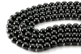 【丸ビーズ】黒翡翠(ブラックネフライト) 8mm (ブレスレット約1本分) 【パワーストーン 天然石 アクセサリー 半連売り】