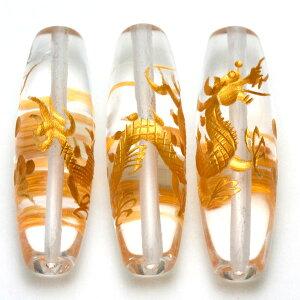 【彫刻ビーズ】水晶 (金彫り) 五爪龍 「太鼓型」 4cm 【パワーストーン 天然石 アクセサリー】