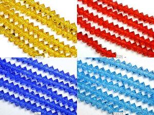 【カットビーズ】クリスタルガラス ボタン型カット 約3×6mm 各色 【パワーストーン 天然石 アクセサリー 1連売り】