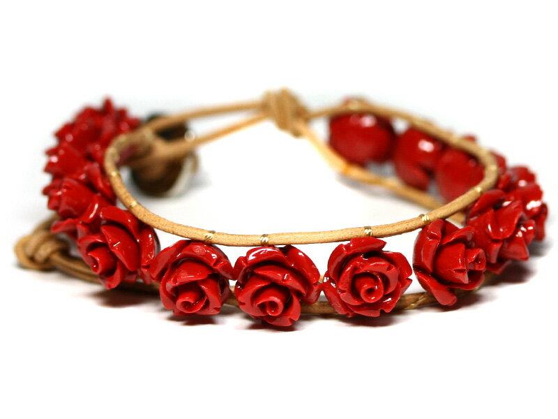 【ブレスレット】センティピードブレスレット 薔薇 赤珊瑚 【パワーストーン 天然石 アクセサリー レディース メンズ】