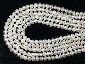 【丸ビーズ】淡水パール(ホワイト) 6-7mm 【パワーストーン 天然石 アクセサリー】