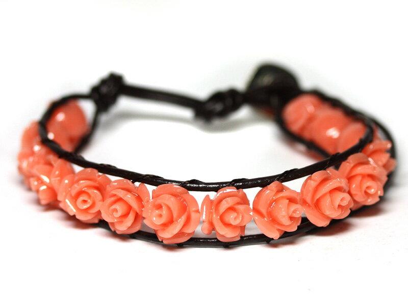 【ブレスレット】センティピードブレスレット 薔薇 ピンク珊瑚 【パワーストーン 天然石 アクセサリー レディース メンズ】