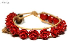 【ブレスレット】センティピードブレスレット薔薇赤珊瑚