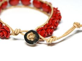 【ブレスレット】センティピードブレスレット薔薇赤珊瑚【パワーストーン天然石アクセサリーレディースメンズ】