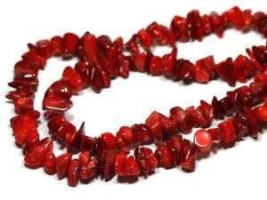 【さざれビーズ】赤珊瑚 (大粒) 約80〜90cm【パワーストーン 天然石 アクセサリー】
