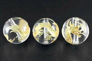【彫刻ビーズ】水晶 16mm (金彫り) 五爪龍 チャーム付き【パワーストーン 天然石 アクセサリー】
