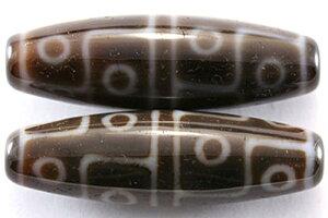 【天珠ビーズ】高級風化天珠3.8cm 十二眼 (茶地に白模様タイプ) 【パワーストーン 天然石 アクセサリー】